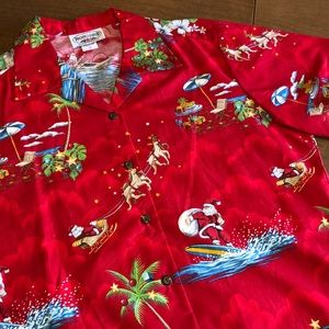 NWOT Red PACIFIC LEGEND Hawaiian Santa Shirt